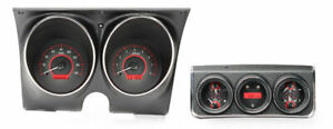 Dakota Analog 67 Camaro Firebird W console Gauges Carbon Red Vhx 67c cac