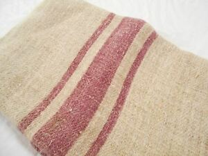 Vtg Antique Cranberry Stripe European Hemp Linen Feed Sack Grain Bag 18x47