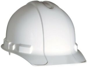 White Non vented Hard Hat Safety Workwear Ratchet Adjustment Impact Resistant
