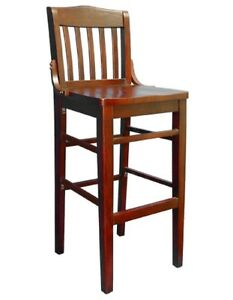 New Commercial Restaurant Schoolhouse Barstool Wood Furniture Mahagony B3037bs