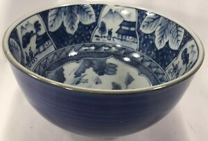 Chinese Old Blue And White Porcelain Bowl Signed Hand Painted 5 Diameter 3