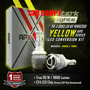 Stark 90w 9600lm Led 3000k Yellow Chip Fog Light Conversion Kit Bulbs 9006 Hb4