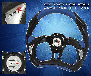 Honda 320mm Jdm Battle Racing Pvc Leather Steering Wheel Blue Black W Logo
