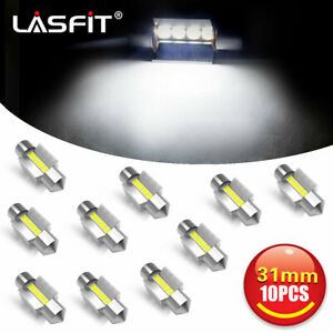Lasfit Festoon 31mm De3175 De3021 Led Dome Map Interior Light Bulbs 10pcs White