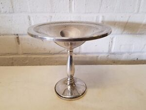 Vintage Fisher Sterling Silver Weighted Reticulated Edge Compote Bowl