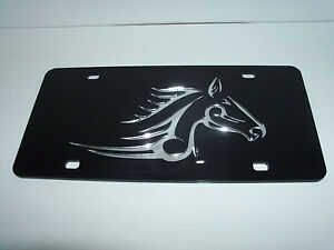 Horse Tribal Mirror Laser License Plate Black silver New