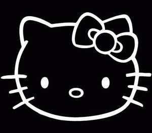 Hello Kitty Head Face Bow Car Truck Wall Vinyl Window Decal Decals Sticker White