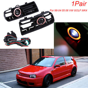 For 98 04 Vw Golf Gti Mk4 Led Running Fog Lights Red Angel Eyes Front Grilles