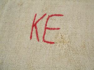 Vtg Antique Monogram European Hemp Linen Fabric Feed Sack Grain Bag 19x45