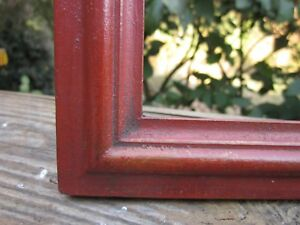 Excellent Contemporary Oxblood Red Painted Folk Art Primitive Frame