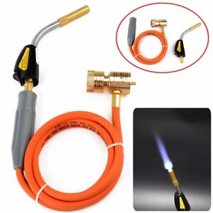 Mapp Gas Self Ignition Plumbing Turbo Torch With Hose Solder Propane Welding Set