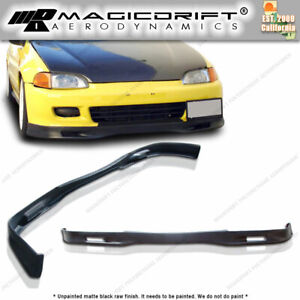 For 92 95 Honda Civic Eg Coupe 2dr Spoon Style Front Bumper Lip Spoiler Urethane