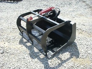 Bobcat Skid Steer Attachment 48 Solid Bottom Grapple Bucket Free Ship