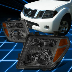 For 05 08 Nissan Frontier Pathfinder Headlight Lamp Set Replacement Smoked Amber
