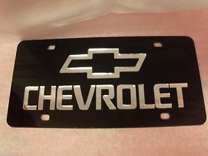 Chevrolet Laser License Plate Black silver New