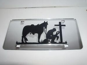 Horse Cowboy Mirror Laser License Plate Blessed Religious Pray