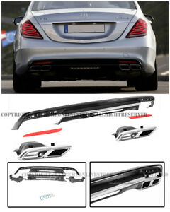 For 14 Up S Class W222 Amg Style Rear Bumper Quad Tip Exhaust Muffler Diffuser