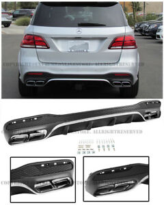 Amg Style Rear Bumper Quad Muffler Tips Diffuser For 16 up Mb W166 Gle class
