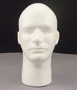 Male Mannequin Styrofoam 12 Head Bust With Face Display Wigs Glasses Hats