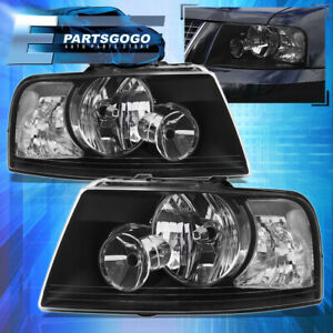 For 2003 2006 Ford Expedition Black Housing Clear Corner Headlight Lamp Pair