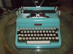 Antique Authentic 1950s Turquoise Royal Manual Portable Typewriter