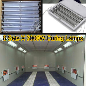 8 Sets 3kw Spray Baking Booth Infrared Paint Curing Lamps Heaters Heating Lights