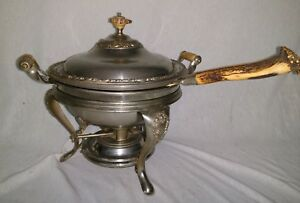 Antique Rare 1800s Manning Bowman Co Chafing Dish Antler Stag Handles