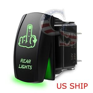 Green Laser Etched Rear Finger Led 12v 20a 10a 5 Pin Rocker Toggle Switch Car