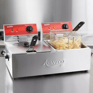 Avantco F102 20lb Dual Tank Electric Countertop Fryer 120v 3500w
