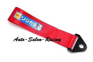 Jdm Spoon Racing Drift Rally Car Tow Strap Belt Universal Recovery Hook Red