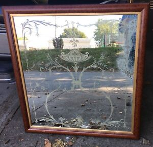 Large 19th Century Acid Etched Venetian Mirror Custom Reframing