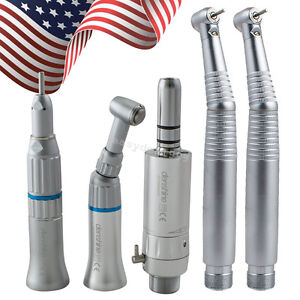 Dental Low Speed Handpiece Kit 2 E generator Led High 2 Hole Push Button Fit Nsk