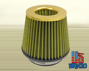 3 Inch Dry Cone Style Performance Air Filter For Cold And Short Ram Intakes Gold