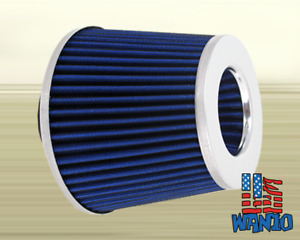 3 Inch Dry Cone Style Performance Air Filter For Cold And Short Ram Blue Silver