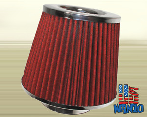 4 Inch Dry Cone Style Performance Air Filter For Cold And Short Ram Silver Red