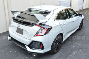 Type R Style Primer Black Rear Lid Wing Spoiler For 16 Up Honda Civic Hatchback