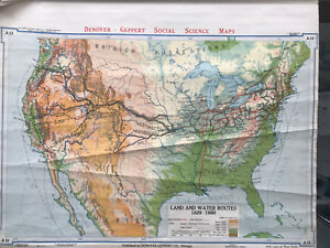 Original 1940s United States Land Water Routes Classroom Map 34 L X 44 W