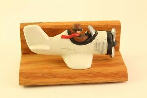 Vintage Home Office Wildwood Carved Prop jet Airplane Note Business Card Holder