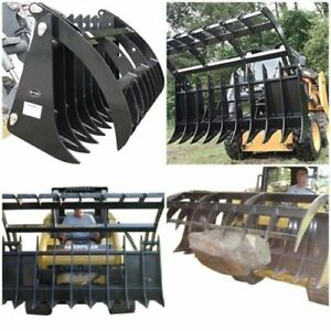 Otp 60 V2 Root Grapple Rake Clamshell Attachment Bucket Skid Steer Rock Bobcat