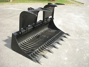 Bobcat Skid Steer Attachment 80 Rock Bucket Grapple With Teeth Ship 149