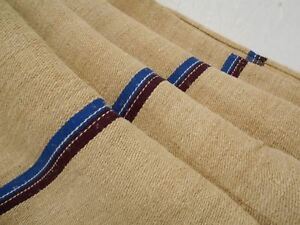 A Vtg Antique Plum Purple Blue Stripe Hemp Linen French Feed Sack Grain Bag