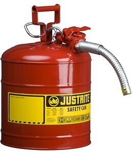 Metal Gas Can Galvanized Steel Tank Flexible Spout Fuel Hose Gasoline 5 Gallon
