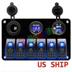 Car Marine Boat 6 Gang Waterproof Circuit Blue Led Rocker Switch Panel Breaker