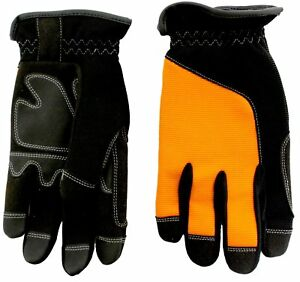 12 Pairs Heavy Duty Leather Padded Palm Work Glove Spandex Back Size L