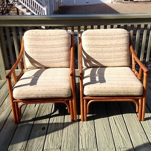 Vintage Pair Of Bamboo Rattan Lounge Chairs Distinctive Rattan By Clark Casual