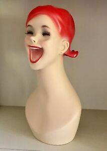 New Laughing Mannequin Head Red Hair Store Shop Display Prop Hilarious