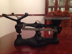Rare Antique Penn Balance Bakers Weights 2 Cast Iron Scale