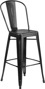 New Black Distress Commercial Indoor Metal Barstool Restaurant Furniture Seating