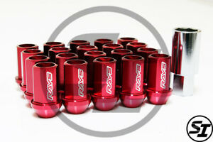Volk Racing Rays Straight L42 Lug Nuts Set 12x1 25 1 25 Red Dura Lock Acorn