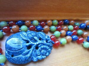 Antique Chinese Lapis Fruit Flower Hand Carved Pendant Multi Jade Beads Necklace